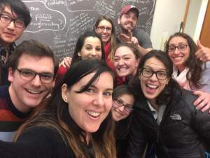 H821 Literacy Coaching, on the last night of class. Front and center: Professor Lisa Messina (aka selfie-taker)!