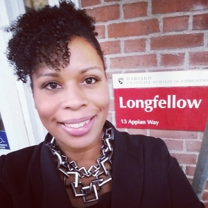 Felicia Joy takes a selfie while attending Open House before applying to HGSE.