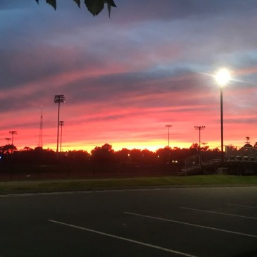 A beautiful sunset over the Harvard outdoor track