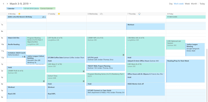 A schedule from an HGSE Ed.L.D. Student